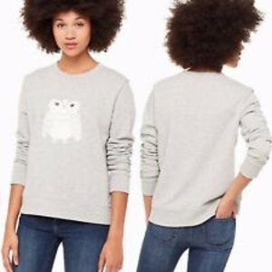 KATE SPADE BROOME STREET OWL Gray Sweater Large